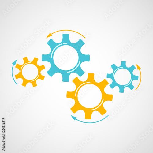 Fotografie, Obraz  Industrial gears vector illustration