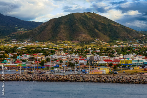 Photo  Colorful Coastal Harbor and Town
