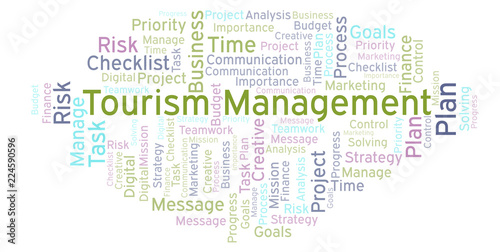 Fotografia  Tourism Management word cloud, made with text only.