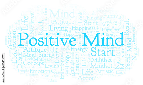 Staande foto Positive Typography Positive Mind word cloud, made with text only.