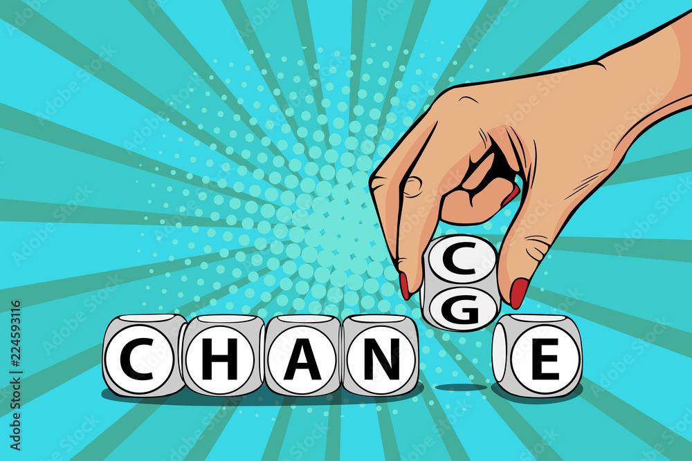 Fototapeta Businesswoman hand change word on blocks to chance. Business motivation. Vector illustration in pop art retro comic style