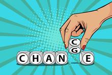Businesswoman Hand Change Word...