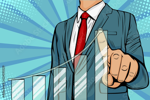 Poster Pop Art Businessman pointing arrow graph corporate future growth plan. Business concept of development to success and growing growth. Vector illustration in pop art retro comic style