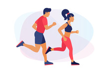 Running Young People In Sportswear. Man And Woman On Run. Concept Of Sport And Healthy Lifestyle. Vector Illustration.
