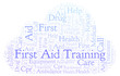 First Aid Training word cloud, made with text only.