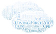 Giving First Aid word cloud, made with text only.