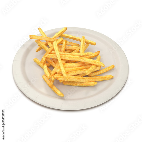 Fotografía  French Fries On Paper Plate 3D Render