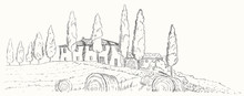Mediterranean Landscape. Autumn Tuscan Landscape With A Manor, Fields And Cypresses.
