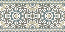 Vector Image Of Eastern Tile Or Fabric. The Pattern Is Seamless And Used For Different Design. Also For Interior Decoration And Architecture Or The Holiday Of Ramadan.