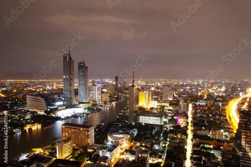 Photo  Bangkok city top view panorama night cityscape inThailand