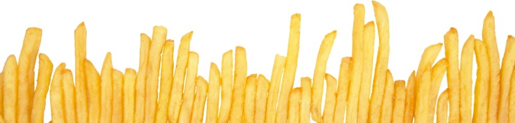 Fototapeta Do baru French Fries One Beside The Other Close-up - Isolated