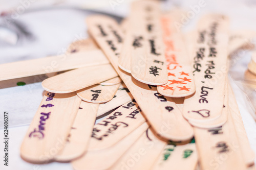 Date Night Jar Messages On Wood Text At A Hens Party For The Bride Horizontal Side View Shallow Depth Of Field Ideas Buy This Stock Photo And Explore Similar Images At