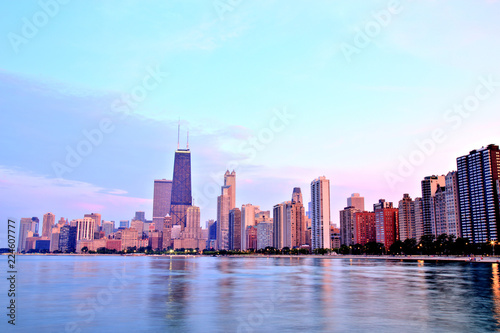 Deurstickers Chicago Chicago Skyline at Sunset in Epic Colors