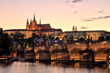 Prague Castle With Charles Bridge At Dusk