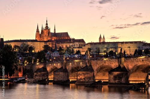 Staande foto Praag Prague Castle with Charles Bridge at Dusk