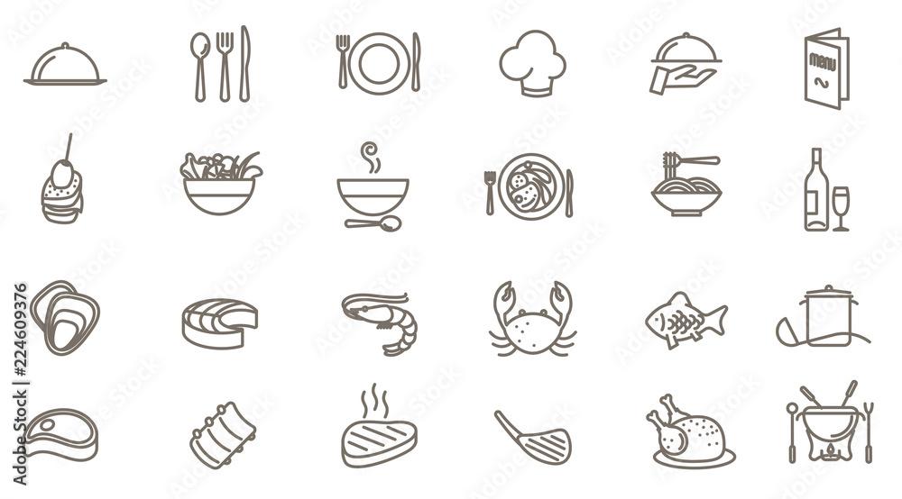 Fototapety, obrazy: restaurant vector icon set