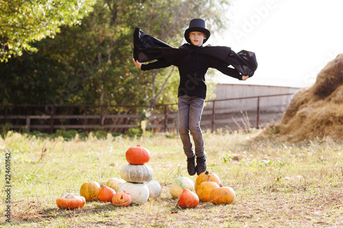 Little boy in carnival costumes with Halloween pumpkin at country farm on warm autumn day.