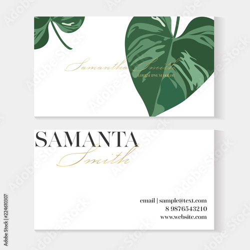 Business Cards Gold And Colorful Design Tropical Leaf Creative Business Card Template With Artistic Vector Design Nature Green Background With Hand Drawn Leaves Buy This Stock Vector And Explore Similar Vectors Portrait of creative nature layout made of tropical leaves isolated on white background with copy space. green background with hand drawn leaves