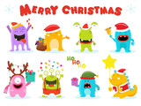 Fototapeta Dinusie - Cute Christmas Monster Characters