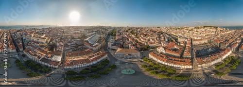 Photo sur Aluminium Cappuccino 360° Panorama of Lisbon over Rosio Square