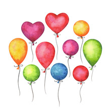 Hand Painted Watercolor Colorful Air Balloons Set Isolated On White Background. Holiday, Birthday, Party, Carnival And Wedding Decor Elements