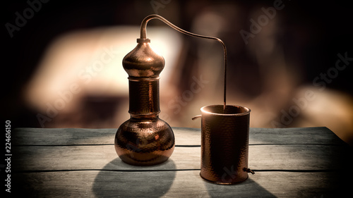 Photo Copper alembic distiller 3d illustration