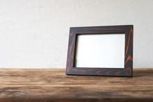 Wood Frame Photo Old Vintage Put On Grunge Wooden Table Desk Design.