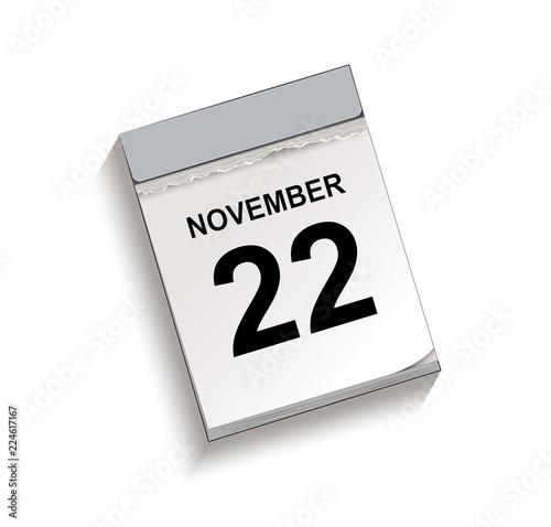 Fotografia  Kalender, Abreißkalender mit Datum 22 November Vektor Illustration isoliert auf