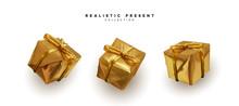 Set Presents. Golden Gift Boxe...