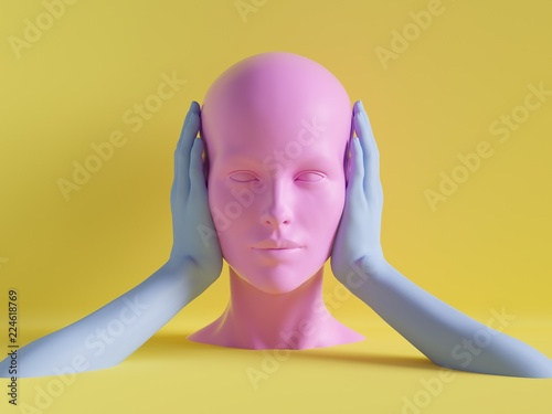 Photo 3d render, female mannequin head, ears closed by hands, silence concept, isolate