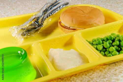 Foto op Aluminium Assortiment School Lunch Tray Cheeseburger