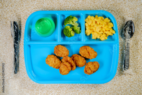 Foto op Aluminium Assortiment Lunch Tray Chicken Nuggets