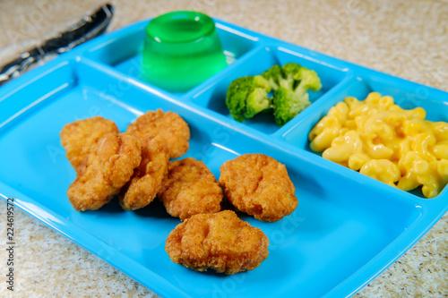 Foto op Aluminium Assortiment Lunch Tray Chicken Nuggets