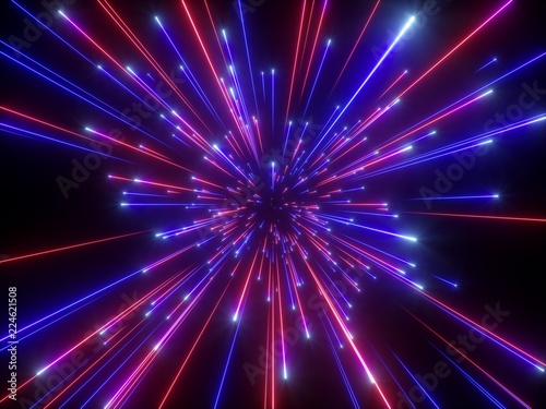 Fototapety, obrazy: 3d render, big bang, galaxy, abstract cosmic background, celestial, beauty of universe, speed of light, fireworks, neon glow, stars, cosmos, ultraviolet infrared light, outer space