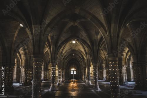 The undercroft at Glasgow University lit up