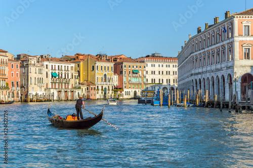 Venice, Italy: Gondolier on Grand Canal near Rialto Fish Market