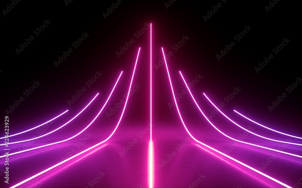 Fototapety, obrazy: 3d render, abstract minimal background, glowing lines, arrow, chart, pink neon lights, virtual reality, laser show