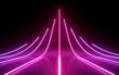 canvas print picture - 3d render, abstract minimal background, glowing lines, arrow, chart, pink neon lights, virtual reality, laser show