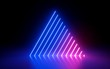 Leinwanddruck Bild - 3d render, abstract minimal background, glowing lines, triangle shape, pink blue neon lights, ultraviolet spectrum, laser show