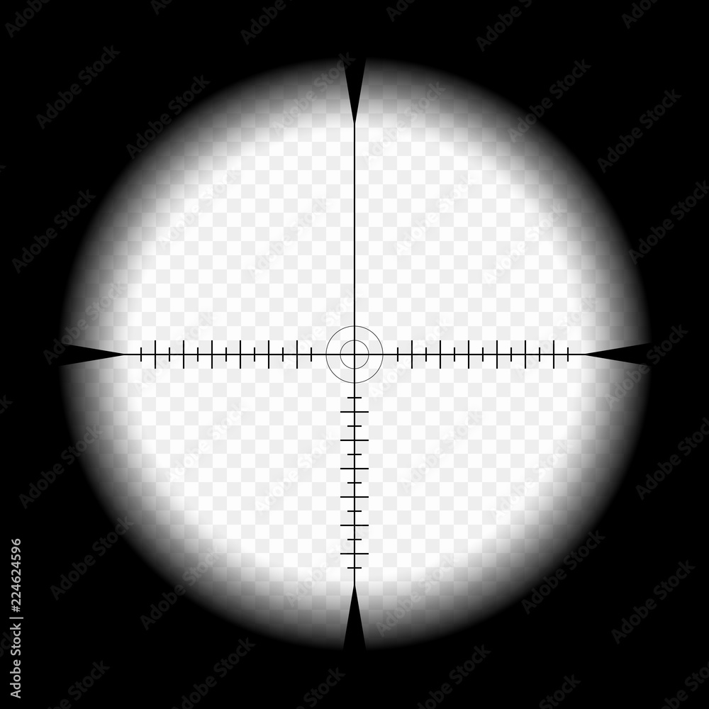 Fototapety, obrazy: Sniper scope template, with measurement marks on isolated background. View through the sight of a hunting rifle. The concept of aiming, the search for the main goal.