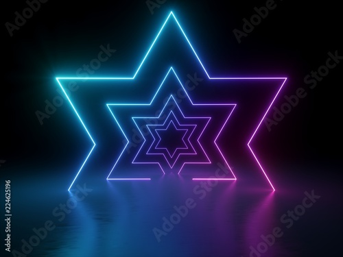 Photographie 3d render, ultraviolet neon star shape, glowing lines, portal, tunnel, virtual r