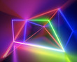 canvas print picture - 3d render, spectrum neon lights, fashion style, glowing lines, rainbow, laser show, energy rays, synergy, virtual reality, ultraviolet, abstract fluorescent background, optical illusion, night club