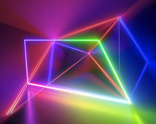 3d Render, Spectrum Neon Lights, Fashion Style, Glowing Lines, Rainbow, Laser Show, Energy Rays, Synergy, Virtual Reality, Ultraviolet, Abstract Fluorescent Background, Optical Illusion, Night Club