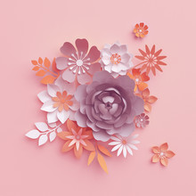 3d Render, Fall Paper Flowers ...