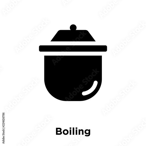 boiling icon vector isolated on white background, logo concept of boiling sign on transparent background, black filled symbol icon Wall mural