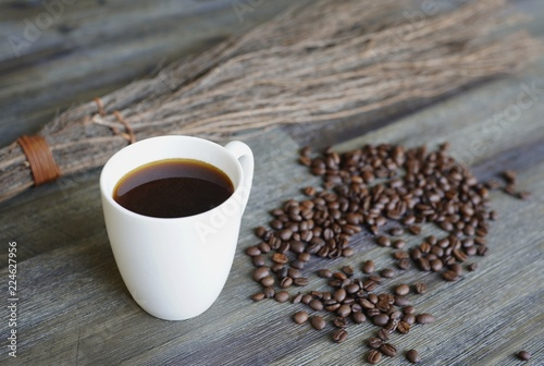 Spoed Foto op Canvas Cafe Coffee cup, coffee beans