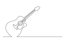 Continuous Line Drawing Of Western Steel Strings Acoustic Guitar With Cutaway