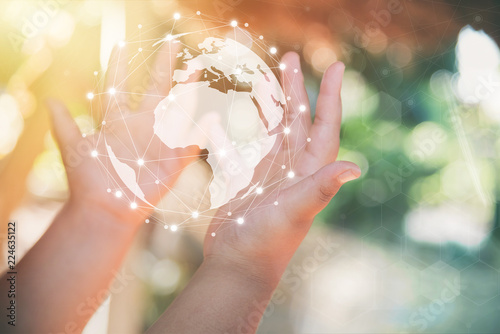 Fotografie, Obraz  hand holding flying earth network global connection concept