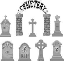 Cartoon Gravestones Collection Set