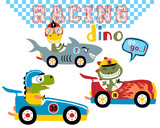Fototapeta Dinusie - Vector set of dinos cartoon car racing